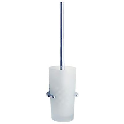 Loft Toilet Brush Wallmount With Frosted Glass Container - Polished Chrome (LK333)