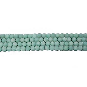 Strand 40+ Turquoise Amazonite 8mm Frosted Plain Round Beads CB46087-2