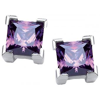 Cavendish French Crystal Square Earrings - Silver/Purple