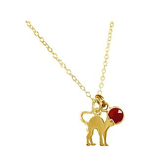 GEMSHINE cat pendant with Red Ruby gem. Solid 925 Silver, gold plated or 45cm necklace. Gift for pet owner, mistress - made in Spain