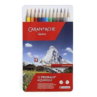 Caran D'Ache rozpuszczalne w wodzie Prismalo Aquarelle ołówki 12 Tin ** ^^