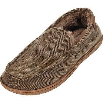 Kissen-Walk braun Tweed Warm gefütterte Mokassin Hausschuhe