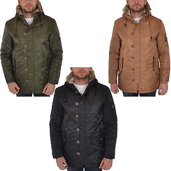 Soul Star Mens Faux Fur Hooded Parka Jacket Padded Winter Coat