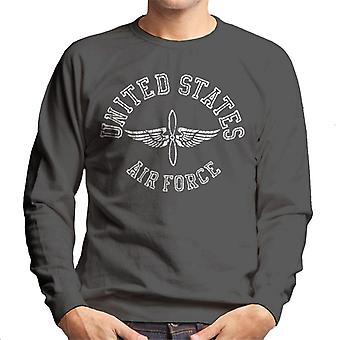 US Airforce Winged Propeller White Text Men's Sweatshirt