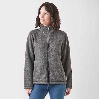Nieuwe Peter Storm Women's Knit look gekleefde lange mouw fleece donkergrijs