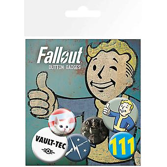 Fallout Badge Pack Vault Tec Mix Official PS4 Xbox Gamer 4 x 25mm & 2 x 32mm