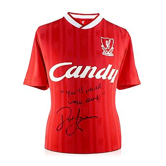 John Barnes Signed 1988-89 Liverpool Home Shirt: You'll Never Walk Alone