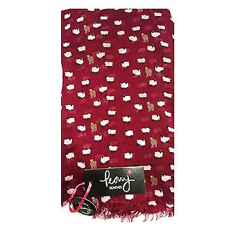 Peony Scarf - Sheep - Pomegranate