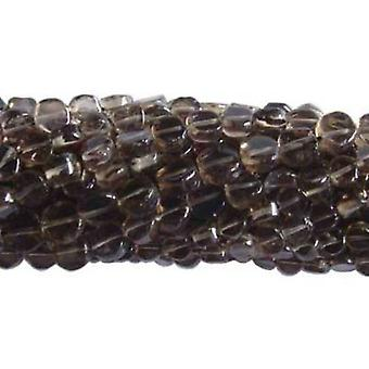 Strand 40+ Brown Smoky Quartz Approx 5-7mm Plain Coin Handcut Beads DW1790