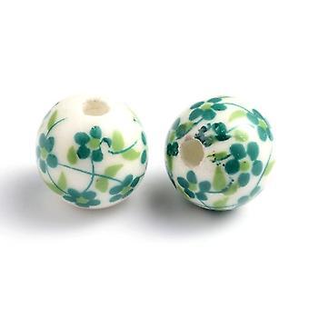 Packet 10 x White/Green Porcelain 12mm Plain Round Beads HA27025