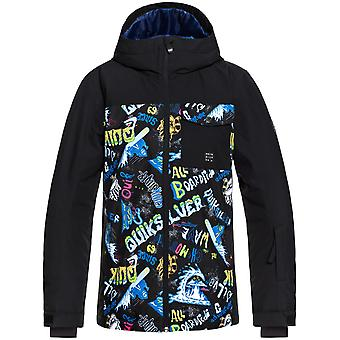 Quiksilver Black-A Night At The Mountain Mission Block Kids Snowboarding Jacket