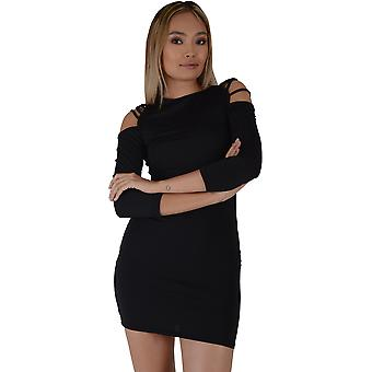 Lovemystyle Black Bodycon Dress With Lace Up Shoulder - SAMPLE