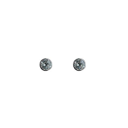 9ct White Gold 4mm round collet set with Cubic Zirconia Stud Earrings no Hallmark