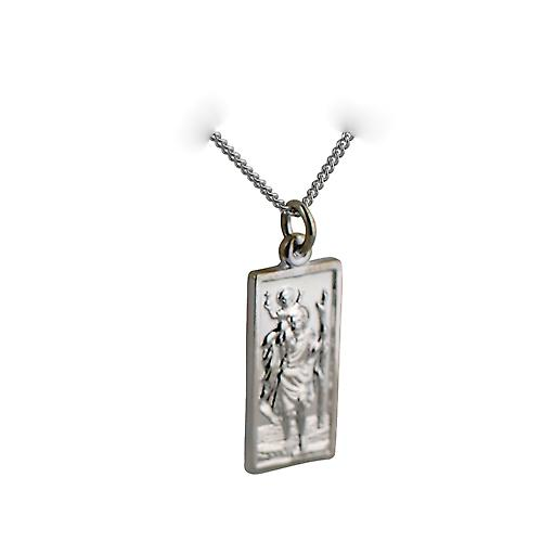 Silver 26x13mm rectangular St Christopher Pendant with a curb Chain 20 inches