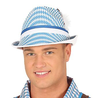 Mens Blue & wit Oktoberfest Hat Fancy Dress accessoire