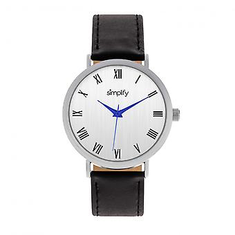 Simplify The 2900 Leather-Band Watch - Silver/Black