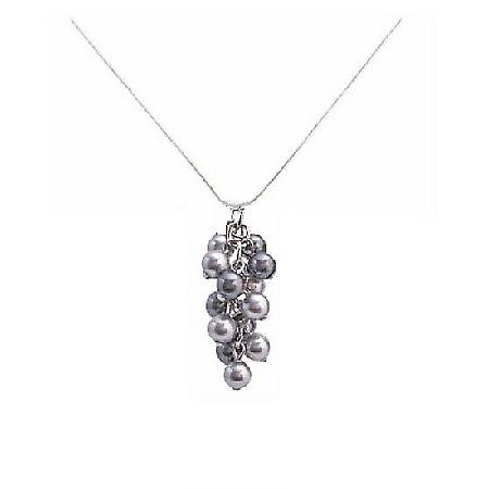 Gorgeous Crafted with Adorable Swarovski Lite & Dark Gray Pearls Pendant Bridemaids Gift Necklace