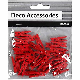 36 Mini Red Wooden Clothes Pegs   Wooden Shapes for Crafts