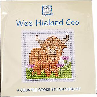 Textile Heritage Counted Cross Stitch Wee Hieland Coo Card