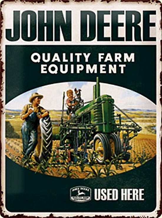 John Deere Quality Farm Equipment Used Here embossed steel sign  (na 3040)