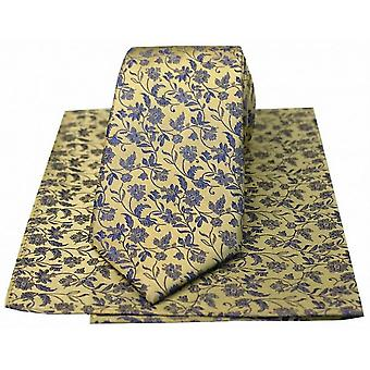 David Van Hagen kleine florale Krawatte und Einstecktuch Set - Gold/blau