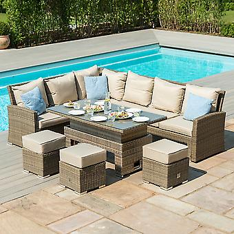 Maze Rattan Tuscany Kingston Corner Dining Set with Adjustable Table