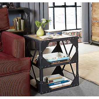 Milano Industrial Metal & Wood Side Table /Multi Media Cabinet