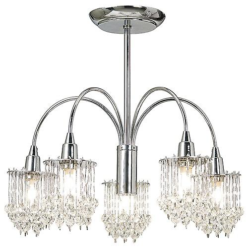 Endon 850-5CH Polished Chrome 5 Arm Semi-Flush Crystal Ceiling Light