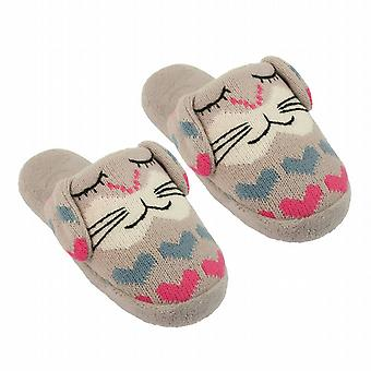 Ladies Aroma Home Rabbit Knitted Animal Slippers