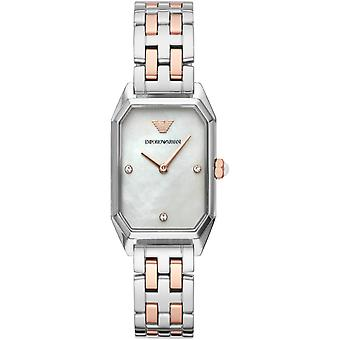 Emporio Armani Ar11146 Gianni T-bar Two Tone staal dames horloges
