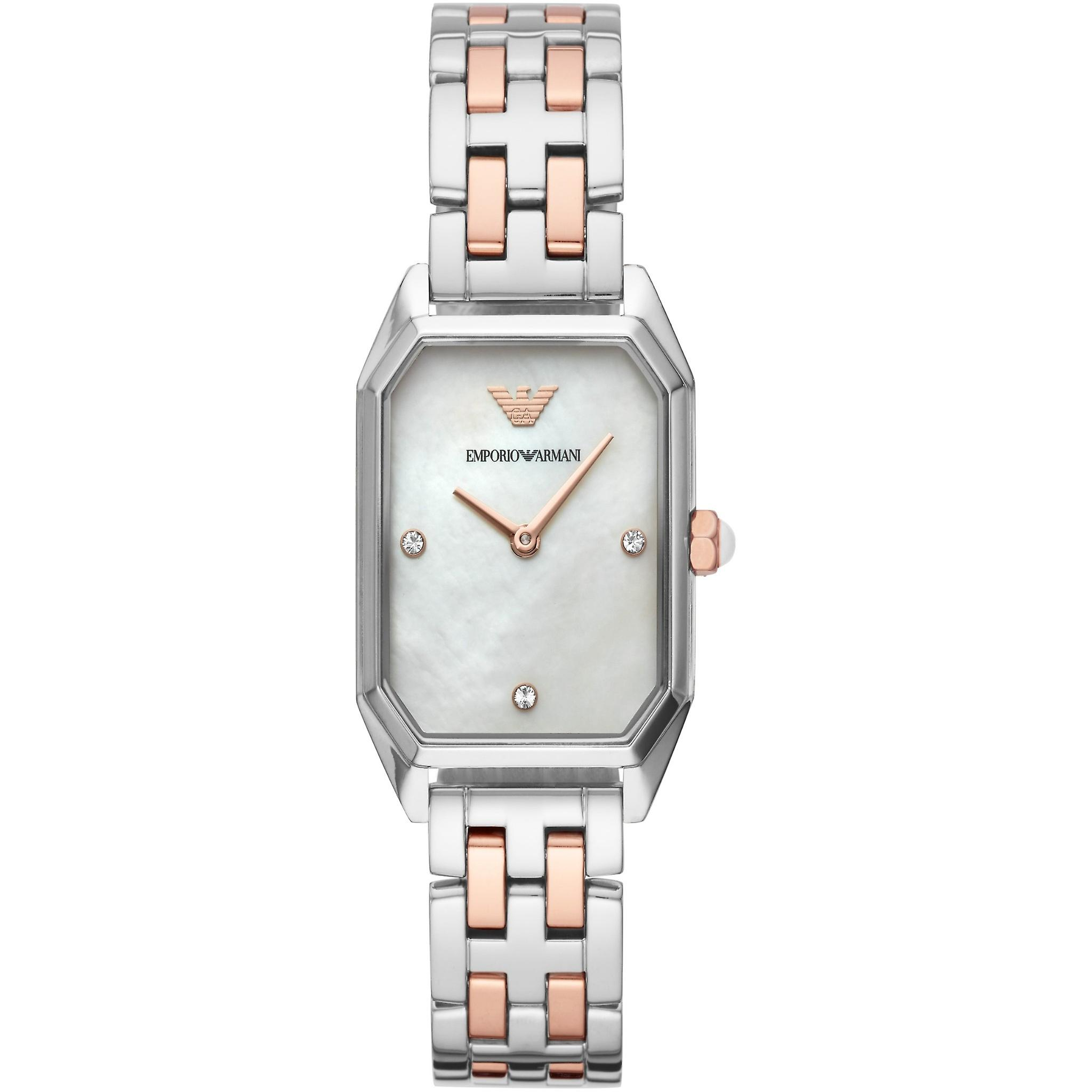 Emporio Armani Ar11146 Gianni T-bar Two Tone Steel Ladies Watches