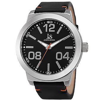 Joshua & Sons Men's JX103SSB Classic Quartz Movement Genuine Leather Strap Watch