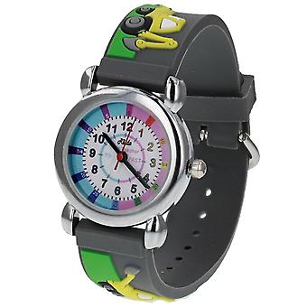 Relda Boy ' s-Children Time Teacher 3D Tractor/Digger Silicone Strap Watch + Telling The Time Award