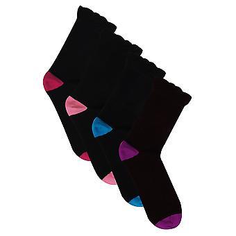 4 PACK Black Coloured Heel Toe Socks In Extra Wide Fit