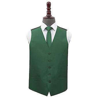 Emerald Green Shantung Wedding Waistcoat & Tie Set
