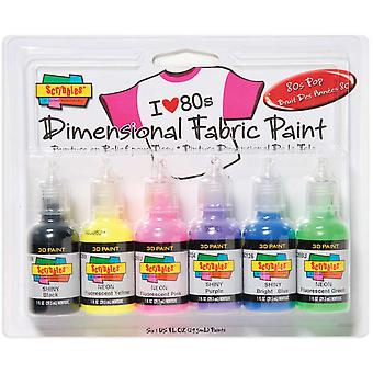 Tulip Dimensional Fabric Paint 1 Ounce 6 Pkg 80'S Pop Dfps 26512