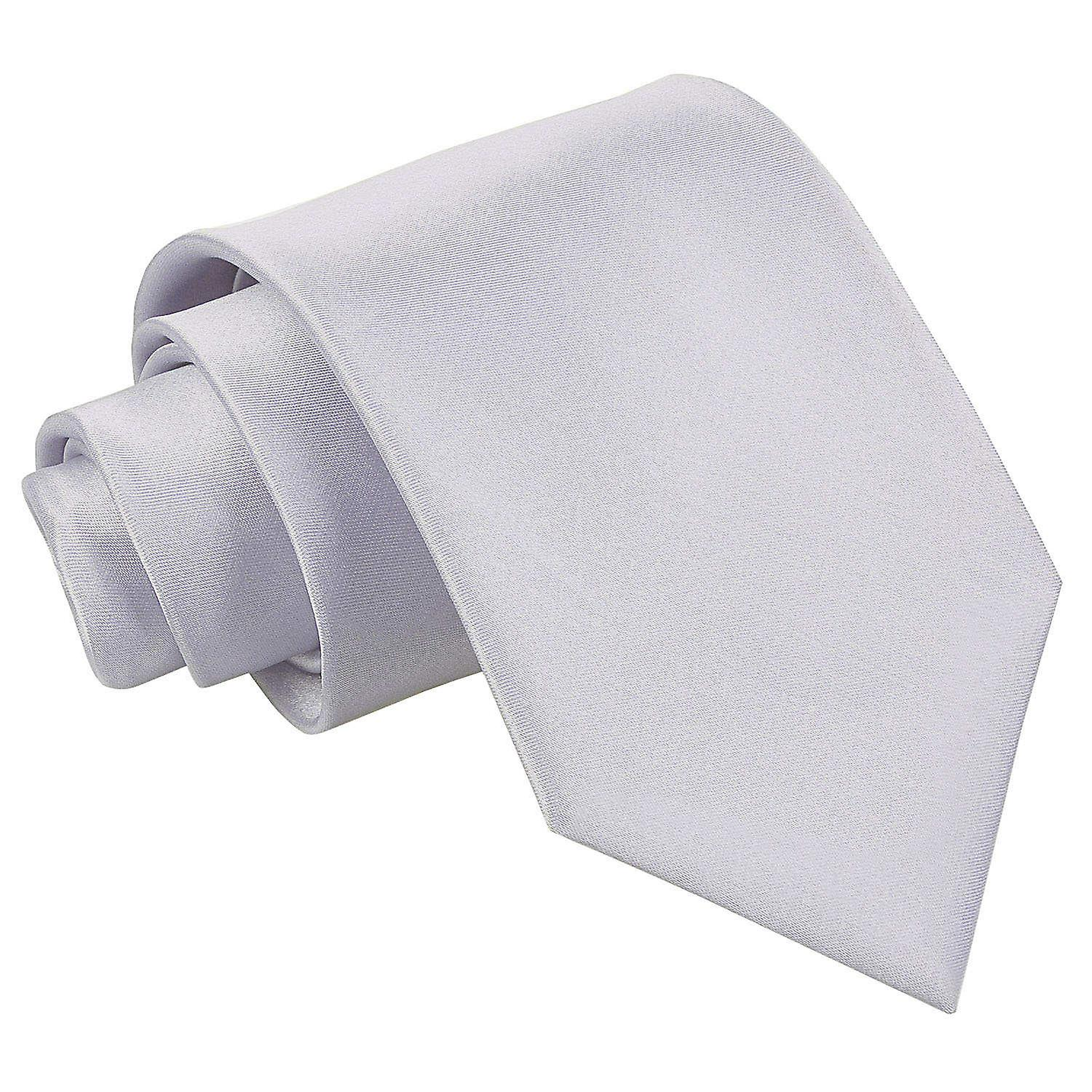 Plain Silver Satin Extra Long Tie