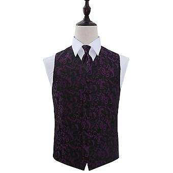 Black & Purple Passion Floral Patterned Wedding Waistcoat & Tie Set