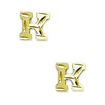 14k Yellow Gold Initial K Stamping Children Earrings - Measures 6x6mm