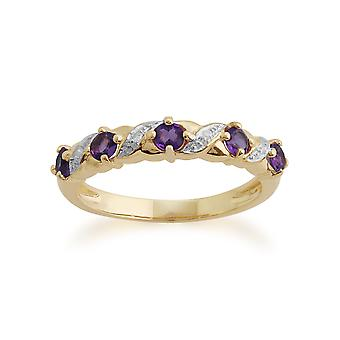 Gemondo 9ct Yellow Gold 0.40ct Amethyst & Diamond Half Eternity Ring