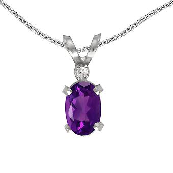14k White Gold Oval Amethyst And Diamond Filagree Pendant with 18