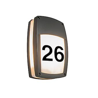 QAZQA Wall Lamp Glow Recta 1 Dark Grey with House Number Stickers