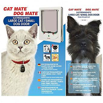 Elektromagnetisk Pet Flap store kat/lille hund hvid