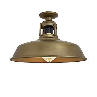 Vintage Industrial Barn Slotted Flush Mount Ceiling Light - Brass - 12