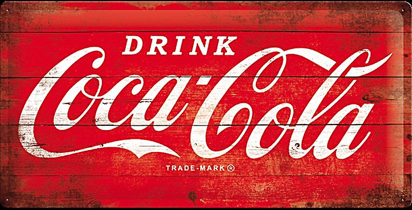 Coca Cola Red Logo large embossed metal sign 500mm x 250mm (na)