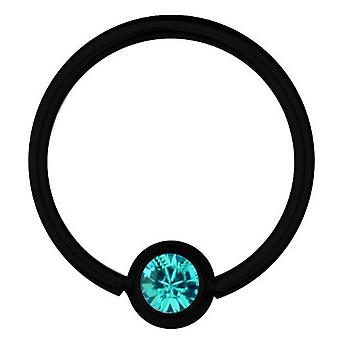 BCR svart Titan Piercing 1,2 mm, SWAROVSKI ELEMENTS Aquamarine | 6 - 12 mm