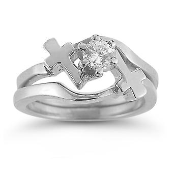 White Topaz Cross Engagement and Wedding Ring Set in Sterling Silver