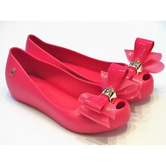 Mini Melissa Melissa Girls Pink PVC Slip On Shoes With Bow | Jr Ultragirl Triple Bow