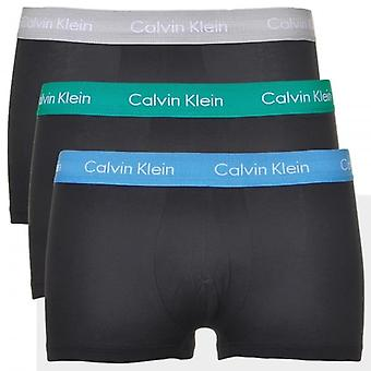 Calvin Klein Cotton Stretch 3 Pack Low Rise Trunk,Black With Blue/Green/Grey, X-Large