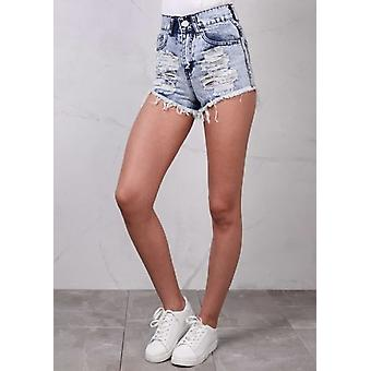 High Waisted Ripped Frayed Edge Denim Hotpants Shorts Acid Wash Blue